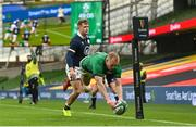 5 December 2020; Keith Earls of Ireland dives over to score his side's third try during the Autumn Nations Cup match between Ireland and Scotland at the Aviva Stadium in Dublin. Photo by Ramsey Cardy/Sportsfile