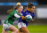 5 December 2020; Clodagh Fox of Wicklow in action against Sarah Jane Jones of Fermanagh during the TG4 All-Ireland Junior Ladies Football Championship Final match between Fermanagh and Wicklow at Parnell Park in Dublin. Photo by Matt Browne/Sportsfile