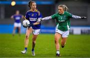5 December 2020; Laurie Ahern of Wicklow in action against Shannan McQuade of Fermanagh during the TG4 All-Ireland Junior Ladies Football Championship Final match between Fermanagh and Wicklow at Parnell Park in Dublin. Photo by Matt Browne/Sportsfile