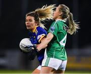 5 December 2020; Meadhbh Deeney of Wicklow in action against Molly McGloin of Fermanagh during the TG4 All-Ireland Junior Ladies Football Championship Final match between Fermanagh and Wicklow at Parnell Park in Dublin. Photo by Matt Browne/Sportsfile