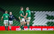 5 December 2020; Caelan Doris, left, and Jacob Stockdale of Ireland congratulate each other following their side's victory during the Autumn Nations Cup match between Ireland and Scotland at the Aviva Stadium in Dublin. Photo by Seb Daly/Sportsfile