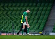 5 December 2020; Jonathan Sexton of Ireland leaves the field after picking up an injury during the Autumn Nations Cup match between Ireland and Scotland at the Aviva Stadium in Dublin. Photo by Seb Daly/Sportsfile