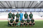 19 September 2020; The Republic of Ireland team, back row, from left, Louise Quinn, Ruesha Littlejohn, Diane Caldwell, Marie Hourihan, Rianna Jarrett, Niamh Fahey with, front row, Megan Connolly, Katie McCabe, Denise O'Sullivan, Leanne Kiernan and Aine O'Gorman prior to the UEFA Women's 2021 European Championships Qualifier Group I match between Germany and Republic of Ireland at Stadion Essen in Essen, Germany. Photo by Thomas Boecker/DFB via Sportsfile