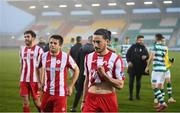 29 November 2020; Ronan Coughlan and Sligo Rovers team-mates leave the pitch following the Extra.ie FAI Cup Semi-Final match between Shamrock Rovers and Sligo Rovers at Tallaght Stadium in Dublin. Photo by Stephen McCarthy/Sportsfile