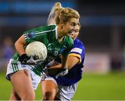 5 December 2020; Sarah McCausland of Fermanagh in action against Emily Mulhall of Wicklow during the TG4 All-Ireland Junior Ladies Football Championship Final match between Fermanagh and Wicklow at Parnell Park in Dublin. Photo by Matt Browne/Sportsfile
