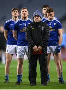 5 December 2020; Cavan manager Mickey Graham and his players stand for the national anthem prior to the GAA Football All-Ireland Senior Championship Semi-Final match between Cavan and Dublin at Croke Park in Dublin. Photo by Stephen McCarthy/Sportsfile