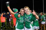 5 December 2020; Fermanagh players Shannan McQuade, left, and Sarah McCausland celebrate after the TG4 All-Ireland Junior Ladies Football Championship Final match between Fermanagh and Wicklow at Parnell Park in Dublin. Photo by Matt Browne/Sportsfile