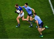 5 December 2020; Pádraig Faulkner of Cavan in action against Niall Scully, left, and Paddy Small of Dublin during the GAA Football All-Ireland Senior Championship Semi-Final match between Cavan and Dublin at Croke Park in Dublin. Photo by Dáire Brennan/Sportsfile