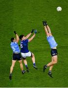 5 December 2020; David Byrne, left, and Brian Fenton of Dublin in action against Thomas Galligan of Cavan during the GAA Football All-Ireland Senior Championship Semi-Final match between Cavan and Dublin at Croke Park in Dublin. Photo by Dáire Brennan/Sportsfile