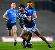 5 December 2020; Conor Smith of Cavan in action against James McCarthy of Dublin during the GAA Football All-Ireland Senior Championship Semi-Final match between Cavan and Dublin at Croke Park in Dublin. Photo by Eóin Noonan/Sportsfile