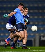 5 December 2020; Brian Howard of Dublin scores his side's 21st point under pressure from Luke Fortune, left, and Pádraig Faulkner of Cavan during the GAA Football All-Ireland Senior Championship Semi-Final match between Cavan and Dublin at Croke Park in Dublin. Photo by Ray McManus/Sportsfile