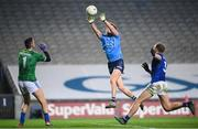 5 December 2020; Robert McDaid of Dublin shoots to score his side's first goal past Raymond Galligan of Cavan during the GAA Football All-Ireland Senior Championship Semi-Final match between Cavan and Dublin at Croke Park in Dublin. Photo by Stephen McCarthy/Sportsfile