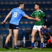 5 December 2020; Brian Fenton of Dublin, left, and Raymond Galligan of Cavan after the final whistle of the GAA Football All-Ireland Senior Championship Semi-Final match between Cavan and Dublin at Croke Park in Dublin. Photo by Ray McManus/Sportsfile