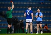 5 December 2020; Thomas Galligan of Cavan is shown the red card by referee Ciarán Branagan during the GAA Football All-Ireland Senior Championship Semi-Final match between Cavan and Dublin at Croke Park in Dublin. Photo by Piaras Ó Mídheach/Sportsfile