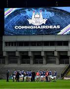 5 December 2020; Cavan players in a huddle after the GAA Football All-Ireland Senior Championship Semi-Final match between Cavan and Dublin at Croke Park in Dublin. Photo by Piaras Ó Mídheach/Sportsfile
