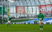 5 December 2020; Jonathan Sexton, right, and Harry Byrne of Ireland ahead of the Autumn Nations Cup match between Ireland and Scotland at the Aviva Stadium in Dublin. Photo by Ramsey Cardy/Sportsfile