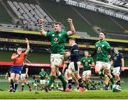 5 December 2020; Peter O'Mahony and Conor Murray of Ireland celebrate a try by Keith Earls during the Autumn Nations Cup match between Ireland and Scotland at the Aviva Stadium in Dublin. Photo by Ramsey Cardy/Sportsfile