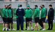 5 December 2020; Irish forwards, from left, John Ryan, Ronan Kelleher, Rob Herring, Andrew Porter, Cian Healy, Eric O'Sullivan and Dave Heffernan, alongside head coach Andy Farrell and scrum coach John Fogarty listen to Matthew Carley prior to the Autumn Nations Cup match between Ireland and Scotland at the Aviva Stadium in Dublin. Photo by Brendan Moran/Sportsfile
