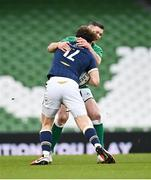 5 December 2020; Jonathan Sexton of Ireland tackles Duncan Taylor of Scotland during the Autumn Nations Cup match between Ireland and Scotland at the Aviva Stadium in Dublin. Photo by Seb Daly/Sportsfile