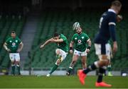5 December 2020; Jonathan Sexton of Ireland kicks a penalty during the Autumn Nations Cup match between Ireland and Scotland at the Aviva Stadium in Dublin. Photo by Seb Daly/Sportsfile