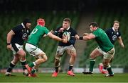 5 December 2020; Matt Fagerson of Scotland in action against Josh van der Flier, left, and Cian Healy of Ireland during the Autumn Nations Cup match between Ireland and Scotland at the Aviva Stadium in Dublin. Photo by Seb Daly/Sportsfile