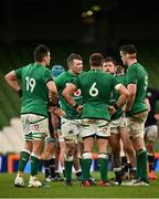 5 December 2020; Ireland players, from left, Quinn Roux, Peter O'Mahony, CJ Stander, Andrew Porter and James Ryan in conversation during the Autumn Nations Cup match between Ireland and Scotland at the Aviva Stadium in Dublin. Photo by Seb Daly/Sportsfile