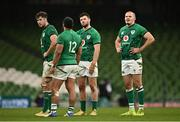 5 December 2020; Ireland players, from left, Caelan Doris, Bundee Aki, Robbie Henshaw and Jacob Stockdale during the Autumn Nations Cup match between Ireland and Scotland at the Aviva Stadium in Dublin. Photo by Seb Daly/Sportsfile