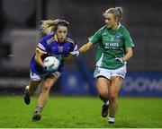 5 December 2020; Clodagh Fox of Wicklow in action against Shannan McQuade of Fermanagh during the TG4 All-Ireland Junior Ladies Football Championship Final match between Fermanagh and Wicklow at Parnell Park in Dublin. Photo by Matt Browne/Sportsfile