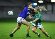 5 December 2020; Shannon McQuade of Fermanagh in action against Alanna Conroy of Wicklow during the TG4 All-Ireland Junior Ladies Football Championship Final match between Fermanagh and Wicklow at Parnell Park in Dublin. Photo by Matt Browne/Sportsfile