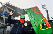 6 December 2020; Mayo supporter Shane Fitzgerald from South Mayo, also known as the Mayo Bandit, awaits the arrival of the Mayo team outside Croke Park ahead of the GAA Football All-Ireland Senior Championship Semi-Final match between Mayo and Tipperary at Croke Park in Dublin. Photo by Sam Barnes/Sportsfile
