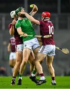 29 November 2020; William O'Donoghue of Limerick is tackled by Gearóid McInerney, left, and Joe Canning of Galway during the GAA Hurling All-Ireland Senior Championship Semi-Final match between Limerick and Galway at Croke Park in Dublin. Photo by Eóin Noonan/Sportsfile
