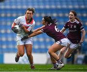 6 December 2020; Doireann O'Sullivan of Cork is tackled by Charlotte Cooney, 6, and Sarah Lynch of Galway of Galway during the TG4 All-Ireland Senior Ladies Football Championship Semi-Final match between Cork and Galway at Croke Park in Dublin. Photo by Ray McManus/Sportsfile