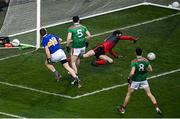 6 December 2020; Brian Fox of Tipperary shoots to score his side's first goal despite the efforts of Mayo goalkeeper David Clarke during the GAA Football All-Ireland Senior Championship Semi-Final match between Mayo and Tipperary at Croke Park in Dublin. Photo by Sam Barnes/Sportsfile