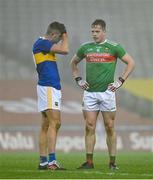 6 December 2020; Colin O'Riordan of Tipperary, left, and Stephen Coen of Mayo after the GAA Football All-Ireland Senior Championship Semi-Final match between Mayo and Tipperary at Croke Park in Dublin. Photo by Brendan Moran/Sportsfile