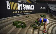 6 December 2020; Tipperary captain Conor Sweeney places a wreath on behalf of the Tipperary football team at the Bloody Sunday memorial on Hill 16 after the GAA Football All-Ireland Senior Championship Semi-Final match between Mayo and Tipperary at Croke Park in Dublin. Photo by Ray McManus/Sportsfile