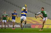 6 December 2020; Jordan Flynn of Mayo has a shot blocked by Bill Maher of Tipperary during the GAA Football All-Ireland Senior Championship Semi-Final match between Mayo and Tipperary at Croke Park in Dublin. Photo by Brendan Moran/Sportsfile