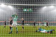 6 December 2020; Rhys Marshall, left, and Roberto Lopes of Shamrock Rovers react following an opportunity on goal during the Extra.ie FAI Cup Final match between Shamrock Rovers and Dundalk at the Aviva Stadium in Dublin. Photo by Stephen McCarthy/Sportsfile