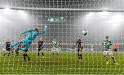 6 December 2020; Dundalk goalkeeper is beaten by a header by Roberto Lopes of Shamrock Rovers for their second goal during the Extra.ie FAI Cup Final match between Shamrock Rovers and Dundalk at the Aviva Stadium in Dublin. Photo by Stephen McCarthy/Sportsfile