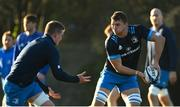 7 December 2020; Ross Molony, right, and Dan Leavy during Leinster Rugby squad training at UCD in Dublin. Photo by Ramsey Cardy/Sportsfile
