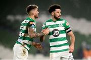6 December 2020; Roberto Lopes, right, and Lee Grace of Shamrock Rovers during the Extra.ie FAI Cup Final match between Shamrock Rovers and Dundalk at the Aviva Stadium in Dublin. Photo by Stephen McCarthy/Sportsfile