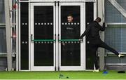 9 December 2020; Daniel Kelly's attempts to get back into the training venue are ignored by team-mate Cameron Dummigan during a Dundalk training session at the Sport Ireland National Indoor Arena in Dublin. Photo by Stephen McCarthy/Sportsfile