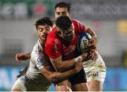 11 December 2020; Ian Madigan of Ulster is tackled by Romain Ntamack of Toulouse during the Heineken Champions Cup Pool B Round 1 match between Ulster and Toulouse at Kingspan Stadium in Belfast. Photo by Ramsey Cardy/Sportsfile