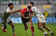 11 December 2020; Ian Madigan of Ulster is tackled by Romain Ntamack, left, and Sofiane Guitoune of Toulouse during the Heineken Champions Cup Pool B Round 1 match between Ulster and Toulouse at Kingspan Stadium in Belfast. Photo by Ramsey Cardy/Sportsfile