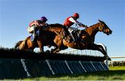 12 December 2020; Peckham Springs, right, with Adam Short up, jumps the last alongside eventual second place Toughari, with David Mullins up, on their way to winning the Thanks To All Our Sponsors In 2020 3-Y-O Maiden Hurdle at Fairyhouse Racecourse in Ratoath, Meath. Photo by Seb Daly/Sportsfile