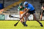 12 December 2020; Cathal O'Meara of Offaly in action against Brian Sheehy of Dublin during the Bord Gais Energy Leinster Under 20 Hurling Championship Quarter-Final match between Offaly and Dublin at St Brendan's Park in Birr, Offaly. Photo by Sam Barnes/Sportsfile