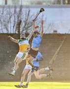 12 December 2020; Padraig Cantwell of Offaly and Micheál Murphy of Dublin contest a high ball during the Bord Gais Energy Leinster Under 20 Hurling Championship Quarter-Final match between Offaly and Dublin at St Brendan's Park in Birr, Offaly. Photo by Sam Barnes/Sportsfile