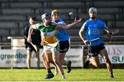 12 December 2020; Luke Nolan of Offaly in action against Kevin Burke, left, and Darach McBride of Dublin during the Bord Gais Energy Leinster Under 20 Hurling Championship Quarter-Final match between Offaly and Dublin at St Brendan's Park in Birr, Offaly. Photo by Sam Barnes/Sportsfile