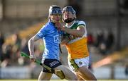 12 December 2020; Luke McDwyer of Dublin in action against Padraig Cantwell of Offaly during the Bord Gais Energy Leinster Under 20 Hurling Championship Quarter-Final match between Offaly and Dublin at St Brendan's Park in Birr, Offaly. Photo by Sam Barnes/Sportsfile