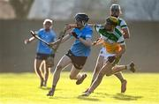 12 December 2020; Luke McDwyer of Dublin in action against Jack Screeney of Offaly during the Bord Gais Energy Leinster Under 20 Hurling Championship Quarter-Final match between Offaly and Dublin at St Brendan's Park in Birr, Offaly. Photo by Sam Barnes/Sportsfile