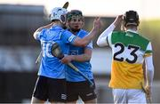 12 December 2020; Darach McBride, left, and Micheál Murphy of Dublin celebrate following their sides victory in the Bord Gais Energy Leinster Under 20 Hurling Championship Quarter-Final match between Offaly and Dublin at St Brendan's Park in Birr, Offaly. Photo by Sam Barnes/Sportsfile